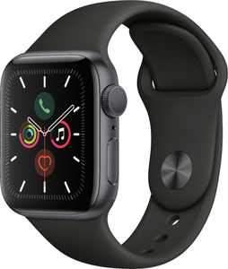 Geek Squad Certified Refurbished Apple Watch Series 5 (GPS) 40mm Space Gray Aluminum Case with Black Sport Band - Space Gray Aluminum