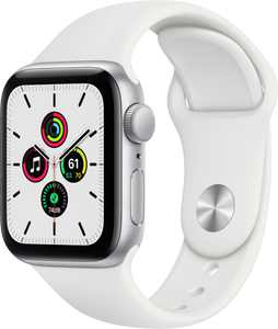 Geek Squad Certified Refurbished Apple Watch SE (GPS) 40mm Silver Aluminum Case with White Sport Band - Silver