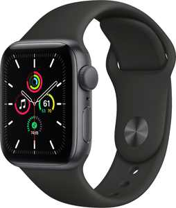 Geek Squad Certified Refurbished Apple Watch SE (GPS) 40mm Space Gray Aluminum Case with Black Sport Band - Space Gray