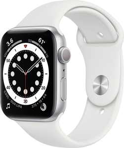 Geek Squad Certified Refurbished Apple Watch Series 6 (GPS) 44mm Silver Aluminum Case with White Sport Band - Silver