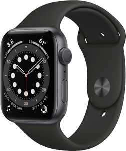 Geek Squad Certified Refurbished Apple Watch Series 6 (GPS) 44mm Space Gray Aluminum Case with Black Sport Band - Space Gray