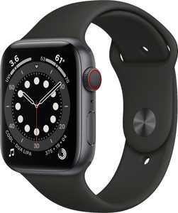 Geek Squad Certified Refurbished Apple Watch Series 6 (GPS + Cellular) 44mm Space Gray Aluminum Case with Sport Band - Space Gray