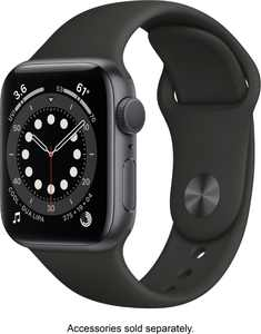 Geek Squad Certified Refurbished Apple Watch Series 6 (GPS) 40mm Space Gray Aluminum Case with Black Sport Band - Space Gray