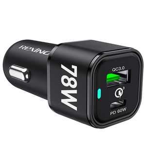 Rexing - 78W Vehicle Quick Charger with 1 USB-C & 1 USB Port Compatible with iPhone and Sumsung Note - Black