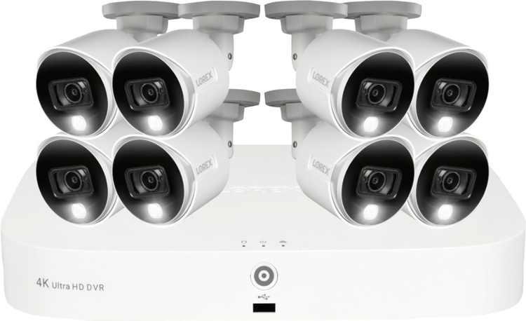 Lorex - 8-Channel, 8-Camera Indoor/Outdoor Wired 4K UHD 2TB DVR Surveillance System - White - White