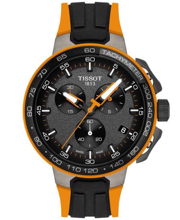 Men's Swiss Chronograph T-Sport T-Race Cycling Black & Orange Silicone Strap Watch 44.5mm