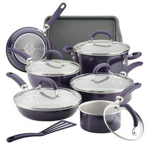 Rachael Ray - Create Delicious 13-Piece Cookware Set - Purple Shimmer