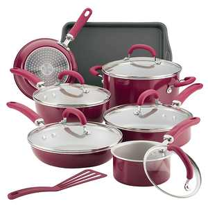 Rachael Ray - Create Delicious 13-Piece Cookware Set - Burgundy Shimmer