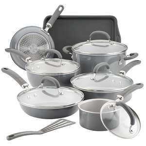 Rachael Ray - Create Delicious 13-Piece Cookware Set - Gray Shimmer