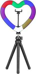"Sunpak - 10"" Heart-Shaped Rainbow Vlogging Kit with Bluetooth Remote"