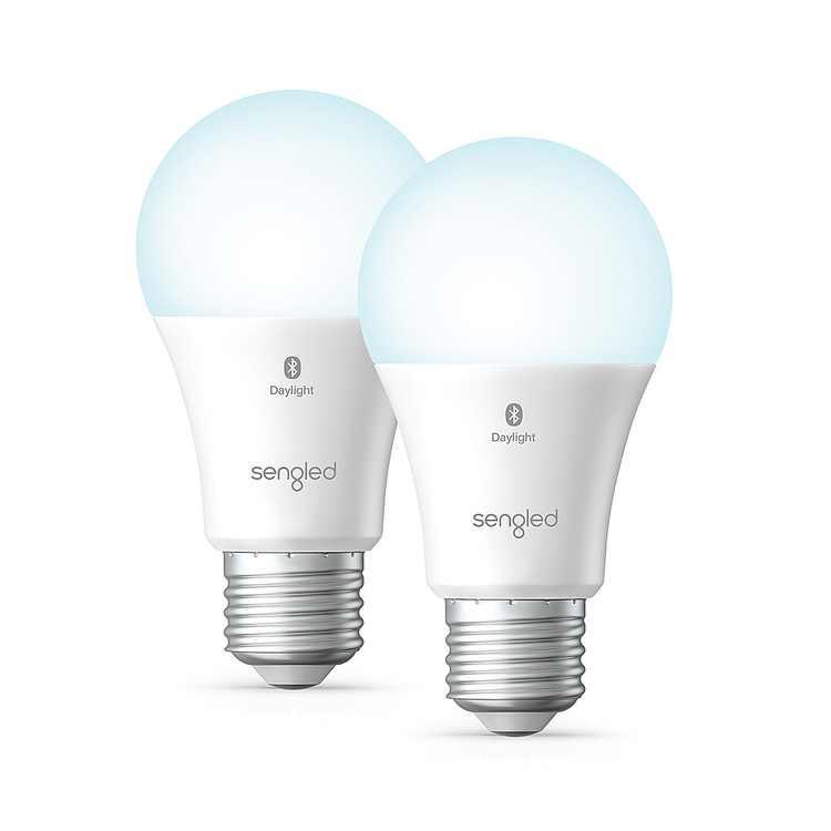 Sengled - Smart Bluetooth Mesh LED Daylight A19 Bulb (2-Pack) - Daylight
