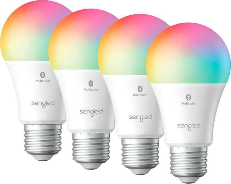 Sengled - Smart Bluetooth Mesh LED Multicolor A19 Bulb (4-Pack) - Multicolor