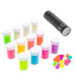 Juvale Glow in The Dark Pigment Powder with UV Lamp (Pack of 13, Assorted)