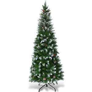 Costway 6ft Snow Flocked Unlit Pencil Christmas Tree Hinged Pine Cones