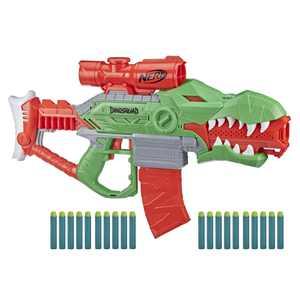 Nerf DinoSquad Rex-Rampage Motorized Dart Blaster, 10-Dart Clip, 20 Nerf Darts
