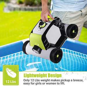 QOMOTOP Cordless Robotic Pool Cleaner, Rechargeable Design, Up to 90 Mins Working Time, IPX8 Waterproof, Built-in Water Sensor Technology - Lake Green