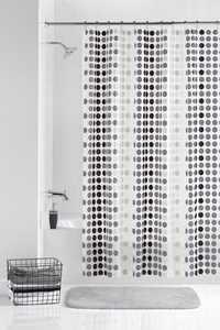 Mainstays Odette Lightweight PEVA Shower Curtain and Hooks, 13- Piece Set, Black/Frosty