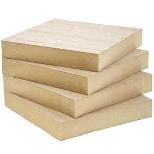 4 Pack Unfinished MDF Wood Square Blocks Wooden Cutouts Pieces for DIY Crafts Paintable