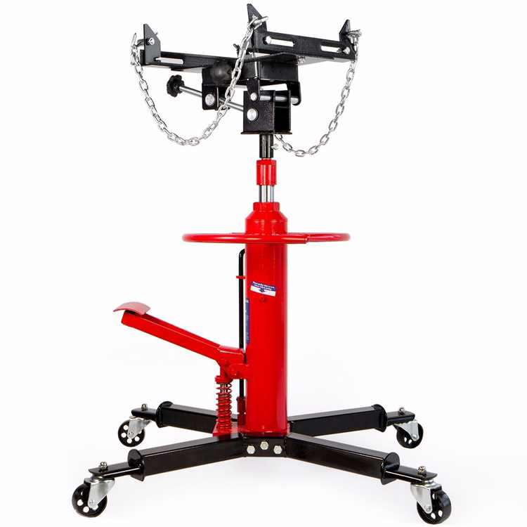 Stark Telescoping Hydraulic Transmission Floor Jack Foot Pedal with Caster Wheel Safety Chain, 1/2-Ton Capacity