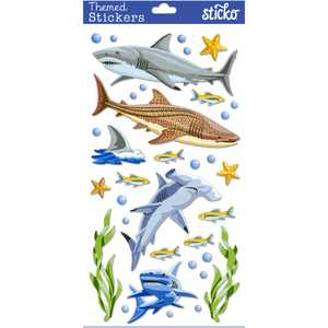 Sticko Classic Sharks Stickers, 34 Piece