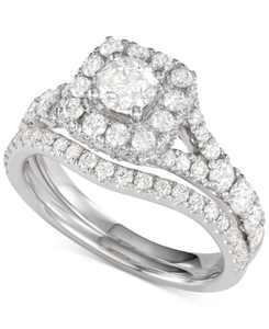 Diamond Halo Bridal Set (2 ct. t.w.) in 14K White, Yellow or Rose Gold