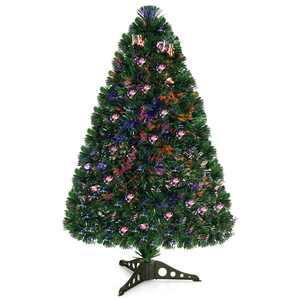 Costway 3Ft Pre-Lit Fiber Optic PVC Christmas Tree Tabletop Plastic