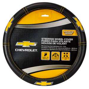 Plasticolor Chevy Deluxe Series Steering Wheel Cover, Black with Yellow Contrast Stitch