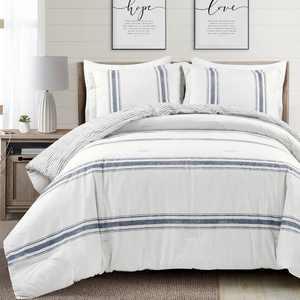 Lush Decor Farmhouse Stripe Geometric Cotton Comforter Sets, King, 3-Pieces