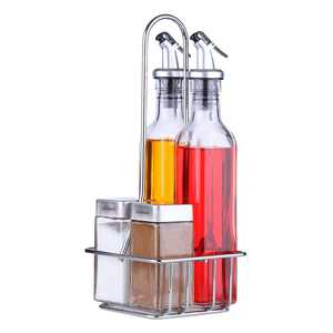 Oil and Vinegar Dispensers 5 Piece Combo Set - Includes Glass Cruet Set and Salt and Pepper Shakers with Convenient Caddy Stand - Features Lever Release Pourer & Stainless Steel Tops - 9 oz. and 4 oz.