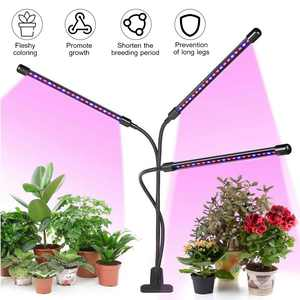 3-Head Grow Light Adjustable Arm 60 LED Light Bulb Plant Growing Lamps with Auto on/off 3/9/12H Intelligent Timing 10 Levels Brightness for Indoor Plants