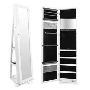 Zimtown 360 Degree Lockable Mirrored Jewelry Cabinet Armoire Mirror Organizer Storage Box Stand