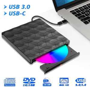 External CD DVD Drive USB 3.0 Type-C Portable CD/DVD ROM +/-RW Optical Drive Player Reader Writer Burner for Windows 10/8/7, Linux, Mac Laptop Desktop PC, MacBook Pro/ Air, iMac, Surface Pro, Black