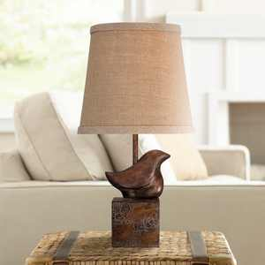 "360 Lighting Cottage Accent Table Lamp 15 1/2"" High Bronze Crackle Bird Burlap Hardback Shade for Bedroom Bedside Nightstand"