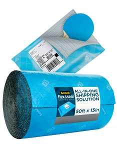 Scotch Flex & Seal Shipping Roll, 15 in x 50 ft, Simple Packaging Alternative to Cardboard Boxes, Bubble Mailers, and Cushioning