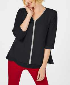 Jeweled Tiered-Hem Blouse, Created for Macy's