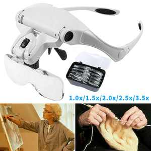 5 Lens Magnifying Glasses LED Headband With Light Hands Free Headset Magnifier
