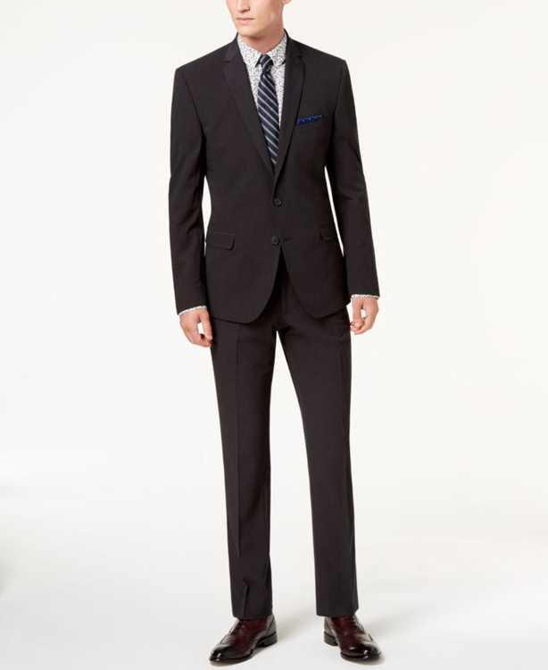 Men's Slim-Fit Stretch Charcoal Solid Suit