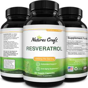 Natures Craft Resveratrol Anti Aging Supplement 1200mg - Natural Trans Resveratrol For Weight Loss and Joint Support 60ct