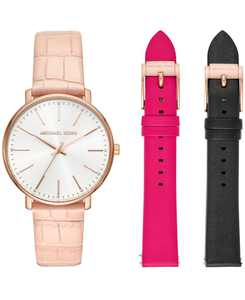 Women's Pyper Pink Leather Strap Watch 38mm Gift Set