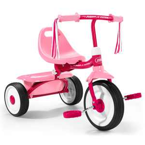 Radio Flyer 415PS Kids Readily Assembled Fold 2 Go Trike with Storage Bin, Pink