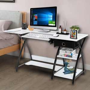 Ktaxon 2 in 1 Sewing Craft Table Computer Desk Adjustable Platform W/ Drawer & Shelves