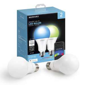Merkury Innovations A21 Smart Multicolor LED Bulb, 75W, Dimmable, 2-Pack