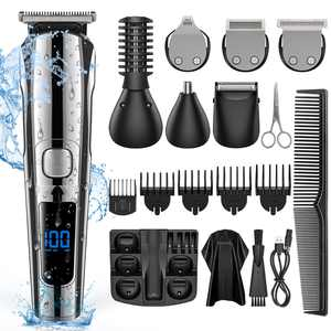 Cshidworld Hair Clipper for Men, 16 in 1 Grooming Kit IPX7 Waterproof Hair Beard Trimmer USB Rechargeable Cordless Haircut with 2-Speed Adjustable, Barber Cape, Storage Stand for Face Nose Ear Home Travel Wet/Dry