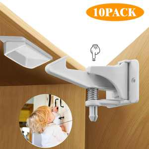 10pcs Safety Locks, EEEkit Universal Home Safety Cabinet Doors Locks, Adhesive Child Baby Kids Proof Locks Latches with Buckles for Cabinet Drawer Closet Cupboard, No Drilling Tools Needed
