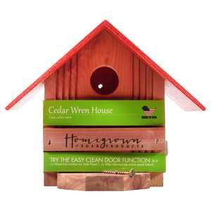 Homegrown Cedar Wren House Bird Feeder, Red