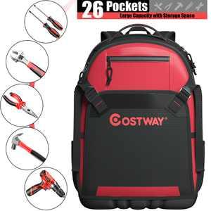 Costway Tradesman Tool Backpack Heavy Duty Jobsite Tool Bag 26 Pockets w/ Molded Base