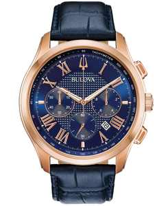 Men's Chronograph Wilton Blue Leather Strap Watch 46.5mm