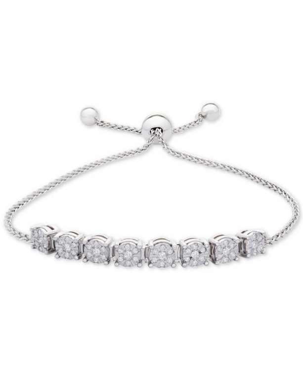 Diamond Cluster Bolo Bracelet (1/5 ct. t.w.) in Sterling Silver