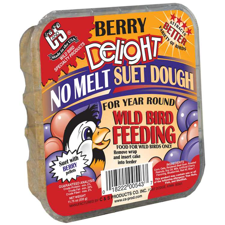 C&S Products Berry Delight Suet, No Melt for Year Round Feeding, 11.75 oz Cake, Wild Bird Food