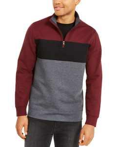 Men's Colorblocked Quarter-Zip Fleece Sweatshirt, Created for Macy's
